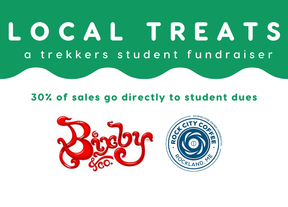 Local Treats Fundraiser, 30% of sales go directly to student dues. Items from Bixby & Co. and Rock City Coffee
